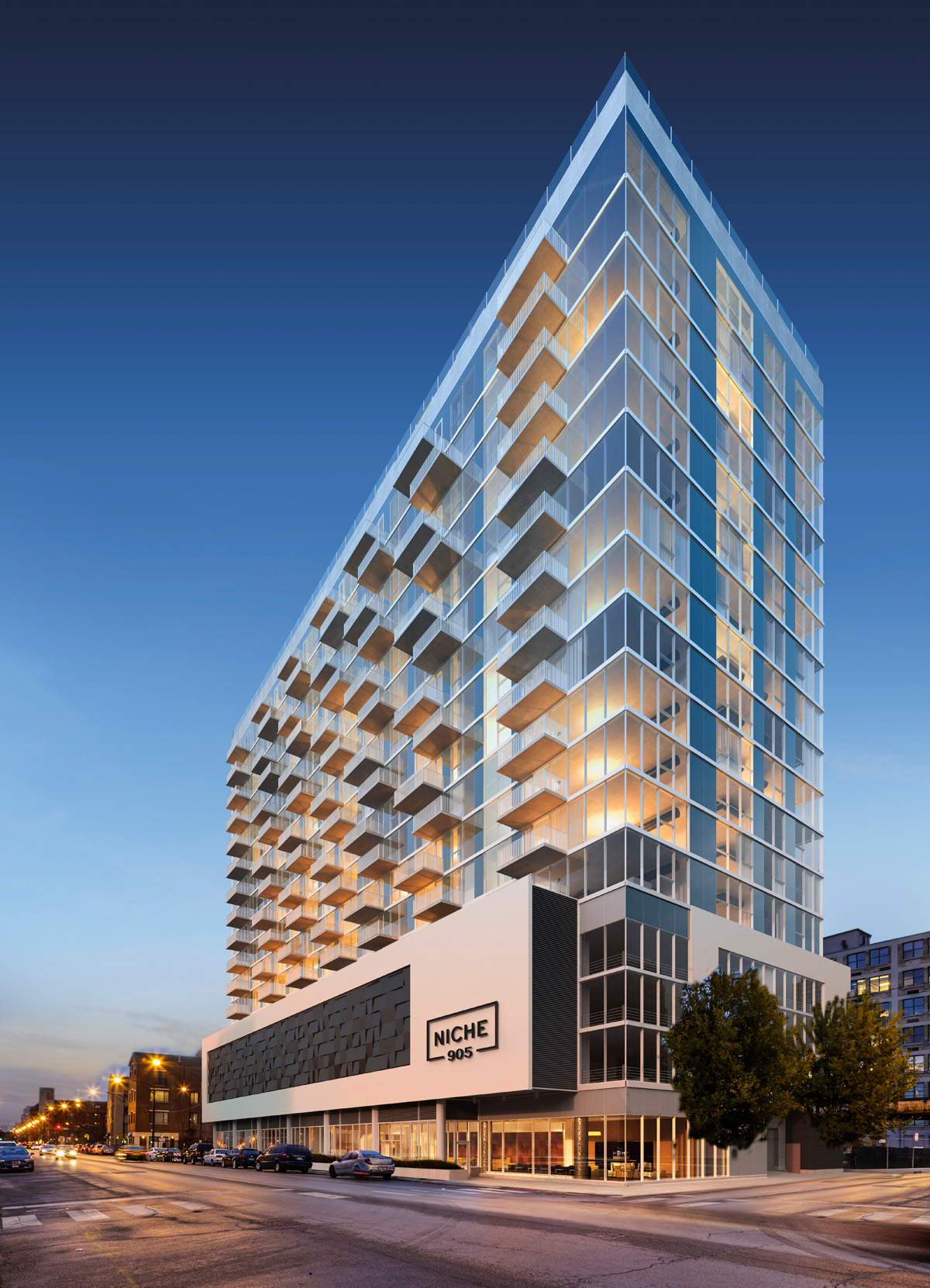 Luxury apartment tower niche 905 breaks ground in downtown for Hotels in chicago under 100